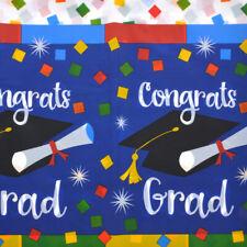 "Graduation Table Cover, Colorful Congrats Grad Table Cloth, Luau, Party 54""x108"""