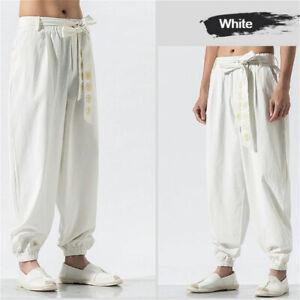 Men's Chinese Kung Fu Pants Tai Chi Trousers Training Wushu Lace Up Harem Pants