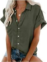 Beautife Womens Short Sleeve Shirts V Neck Collared, Army Green, Size Large Z2Fp