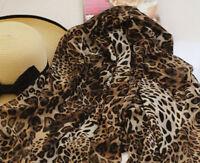 ladies women fashion brown animal leopard print scarf Large UK