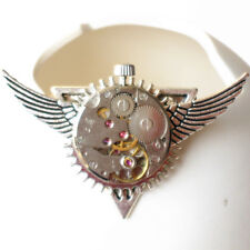 steampunk wings Deathly Hallows watch parts collar brooch pin women men jewelry