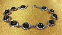 925 Sterling Silver/Amber Gemstone Ladies Bracelet Fine Jewelry