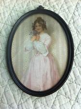 """Antique oval picture of victorian style girl 6"""" x 4"""""""