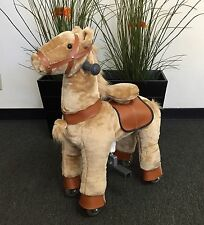 SMALL Giddy Up Ride Horse/Pony Ride On SMALL BEIGE Ages 2-5 Boys & Girls (01G)