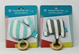 Manhattan Toy Baby Knit Rattle Elephant & Whale Striped Brand New