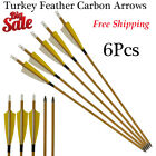 """6Pcs 30"""" Archery Carbon Arrows Turkey Feather SP500 Recurve Bow for Hunting"""