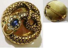 Bijou vintage broche rétro serpent cabochon bleu cristaux couleur or * 4771