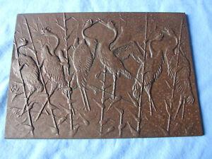 Buderus Wandplatte Gusseisen Relief Kraniche antik Heinrich Weisser
