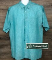 Cubavera Men's 100% Linen Blue Green Short Sleeve Button Front Casual Shirt L