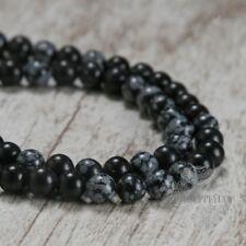 Snowflake Gray 8mm Matte Beads Round Natural Stone