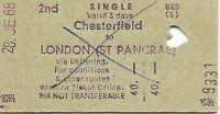 B.R.B. Edmondson Multiprinter Ticket - Chesterfield to London St. Pancras