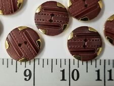 New listing Vintage Buttons Set Of 12 Brown Gold Metal Tuz1480 Last!