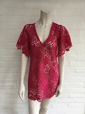 SYMA Fuchsia Bright Pink Lace COVER UP Kaftan Tunic Dress Sz XS S