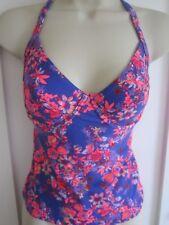 Ladies size 12 32 DD -E Resort blue bright pink mix floral tankini top swimming