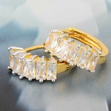 Vintage Classic 9K yellow Gold Filled Plating clear Crystal Women's Hoop Earring