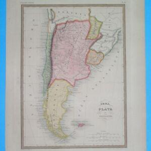 1850 ORIGINAL MAP SOUTH AMERICA CHILE ARGENTINA PATAGONIA URUGUAY BUENOS AIRES