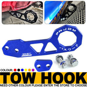 "For Honda Acura 2"" JDM Blue Rear Anodized Billet Aluminum Racing Tow Hook Kit"
