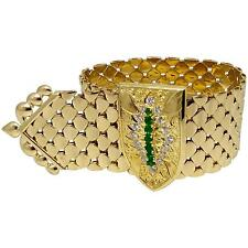 Kutchinsky Wide Emerald Diamond Gold Buckle Bracelet 18k Yellow Gold - HM1685