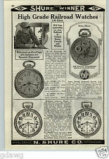 1926 PAPER AD High Grade Railroad Pocket Watch Bunn 60 Hour Waltham Elgin
