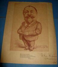 """PORTRAIT IMPRIME D'AUGUSTE MARTEROY"""" 1922 ENVOI Signé """"BON-BOCK"""" CHANSONNIER"""