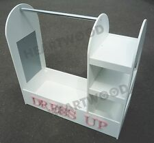 SALE:DRESSING UP STAND/2 SHELF BOOKCASE/RAIL/WHITE 700mm HIGH/7 FREE LETTERS