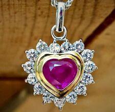 3.50CT Untreated Burma Ruby & Diamonds Heart Pendant 18K Gold