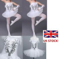 UK Girls Sequin Ballet Dance Dress Tutu Leotard Swan Ballerina Dancewear Costume