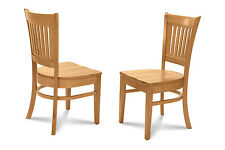 SET OF 6 DINETTE KITCHEN DINING CHAIRS WITH PLAIN WOOD SEAT IN OAK FINISH