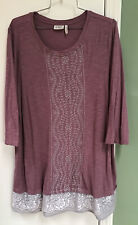 LOGO by Lori Goldstein Plus 1X Knit Tunic Embroidered Gray Mauve Pink Womens Top