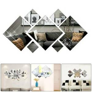 3D Mirror Tiles Mosaic Wall Sticker Self Adhesive Bedroom Art Decal Home Room Y