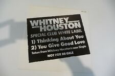 "WHITNEY HOUSTON MAXI 45T PROMO SPECIAL CLUB WHITE LABEL. THINKING ABOUT YOU 12"""