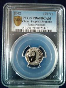 2002 PCGS China People's Republic Platinum Panda PR69DCAM, 100 Yuan  POP 17