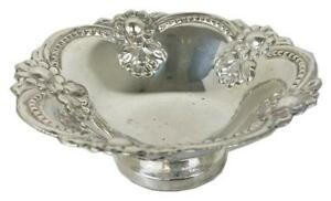 Antique German 800 Silver Repousse Flowers Ornate BonBon Candy Footed Bowl Dish