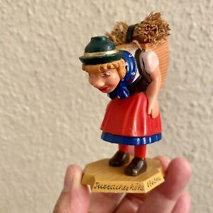 🎁 Wackelkopf Figur ALT Korb-Frau 9cm Bakelit Plastik Souvenir Berge Turrach RAR