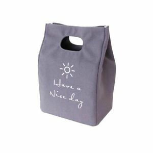 Portable Zipper Thermal Canvas Lunch Pocket Tote Food Bag Keep Warm Fresh Cooler