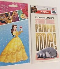 Disney Car Window Decals Stickers Lot 2 Belle Pets Beauty and the Beast