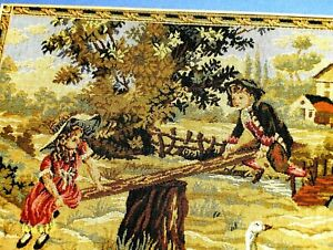 Antique FRENCH ROYAL Tapestry Victorian Boy Girl Swing Trees Goose Farm & Fence