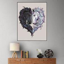 DIY 5D white black horse heart Diamond Painting Embroidery Cross Stitch DecorSC