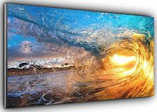 Sunset wave panoramique wall art toile impression xxl 4.5 pi de large x 2 ft high