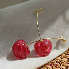 Fashion Sweet Red Cherry Fruit Simulation Resin Earrings Stud Drop Dangle Women
