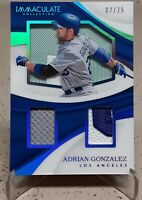2017 Immaculate Collection Shadowbox Materials ADRIAN GONZALEZ Relics /25