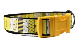 Yelllow Bumble Bee Patchwork Adjustable Dog Collar For Girl Dogs Medium Large