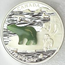2015 $20 Polar Bear with Jade Insert Canadian Icons 99.99% Pure Silver Proof