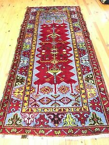 Rare Cr1930-1939 Antique Multi-Colored Wool Pile Bohemian Rug