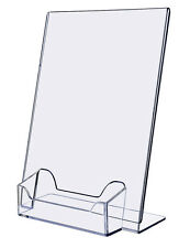 "Lot of 4 Ad 5"" x 7"" One Piece Mold Slant Back Ad Frame with Business Card Holder"