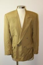 Mens Tan Double-Breasted Sports Jacket Bill Robin Son 100% Pure Silk, I. Magnin