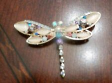 PASTEL PINK RHINESTONE FLYING DRAGONFLY BUG INSECT PIN BROOCH  2 3/4 inch