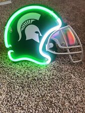 Michigan State Neon Green White Helment Hang On Wall Has Plug And Stand