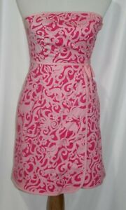Lilly Pulitzer Women's Strapless Dress Pink Paisley Stretch Faux Wrap Size 0