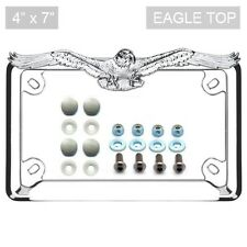 Chrome Eagle License Plate Frame Locking Screw & Cap Kit Grey for Motorcycle